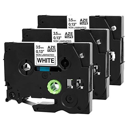 Sostituzione nastro per etichette compatibile con Invoker per Brother TZE-N201 TZeN201 TZN201 3,5 mm x 8 m Nero su bianco, per etichettatrice P-touch 1010 1090 H100R H100 H105 (non laminata)