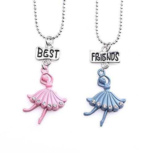 Mingjun - Collar con colgante de la simplicidad de los dibujos animados para mejores amigos, collar de ballet para mujeres y niñas