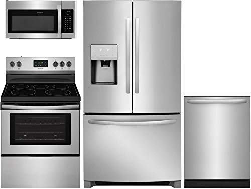 "Frigidaire 4 Piece Kitchen Appliance Package with FFHB2750TS 36"" French Door Refrigerator FFEF3052TS 30"" Electric Range FFMV1645TS 30"" Over the Range Microwave and FFID2426TS 24"" Built In Dishwasher in Stainless Steel"