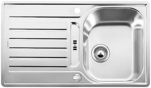 BLANCO LANTOS 45 S-IF - Küchenspüle für 45 cm breite Unterschränke - Mit IF-Flachrand und Ablauffernbedienung - Edelstahl-Bürstfinish - 519717
