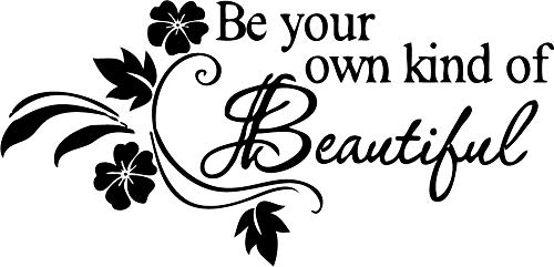 Picniva Be Your Own kind of Beautiful Decals Flower Vine Wall Sticker, 11'' X 22'', Black
