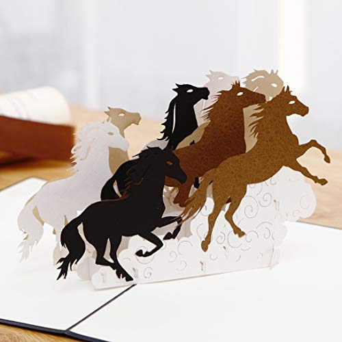 Liif Galloping Horses Greeting Pop Up Card For All Occasions, Pop Up Birthday Card, Happy Birthday Card, Fathers Day Card, Congratulations Card, Retirement Card, Horse Gifts For Women, Horse Lovers