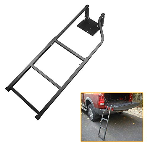 Truck Tailgate Ladder Tailgate Ladder for Truck with Stainless Steel Self Drilling Hex Screws Black 42 Inches Ladder Capacity 300 lbs Durable Iron with Black Powder Coat Universal Fit for Pick Up