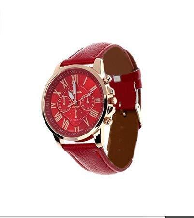 AK.SSI Damen-Armbanduhr, modisch, elegant, analog, Quarz, Edelstahlgeflecht, B47O14OVZOFC57EGTX5G7URX, redDT, 74