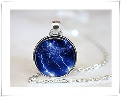 Thunder Time Halskette, gewölbte Glas-Schmuck, handgefertigt, Violett