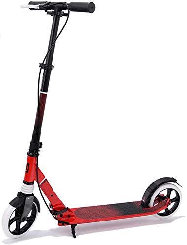 XLYYHZ Kick Adulto Scooter f u r Adultos y Adolescentes, Ajustable en Altura Scooter de Aluminio con Freno, llevando Adultos Pesados 100 kg de Carga máxima, Rojo