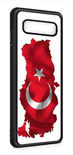 Kompatibel mit Samsung Galaxy S10 Silikon Handyhülle Flexibles Slim Case Cover Hülle Türkei Türkiye Fahne Flagge Schwarz