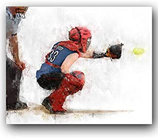 Personalized Softball Catcher Sports Action Print - Gift for The Softball Player (11
