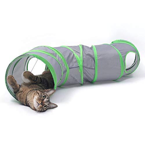 DishyKooker Faltbares lustiges Fell Tunnel Spielzeug mit hängendem Ball für Haustier Katze Chinchilla