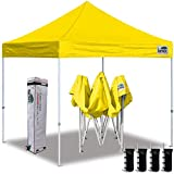 Eurmax 10'x10' Ez Pop Up Canopy Tent Commercial Instant Canopies with Heavy Duty Roller Bag,Bonus 4 Sand weights Bags (Yellow)