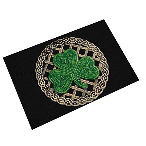Shamrock Lattice and Celtic Knots On Black PVC Doormat Non-Slip Waterproof Outdoor Entrance Door Mat Rug Pad