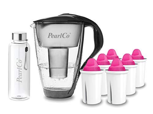 PearlCo - Glas-Wasserfilter (anthrazit) mit 6 Magnesium classic Filterkartuschen + 1 Trinkflasche aus Glas
