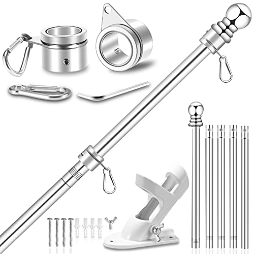 """Upgraded Flag Pole Kit w/ 2-Position Bracket Holder & Rotating Flag Rings - 5FT to 6Ft 1"""" Metal Flagpole Kit for 3x5 & 4x6 American Flag - House Wall Mount Flag Pole for Residential (6 FT, Silver)"""