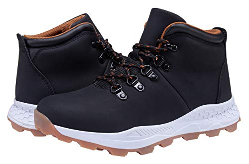 ALLY BELLY Men's Mid Hiking Boots Trekking Backpacking Mountaineering Outdoor Shoes Mid Cut (Black, Numeric_12)