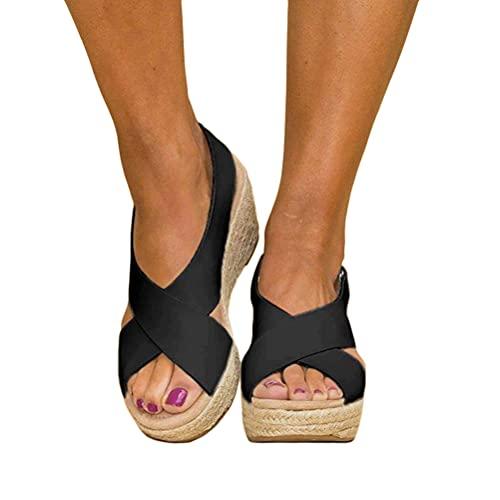 Shownicer Plateau Sandalen Damen Espadrilles Casual Keilsandalen Frauen Sommer Faux Leder mit Knöchelriemen Plattform Offene Schuhe Flip Flops Freizeit Sommerschuhe Schwarz 38 EU