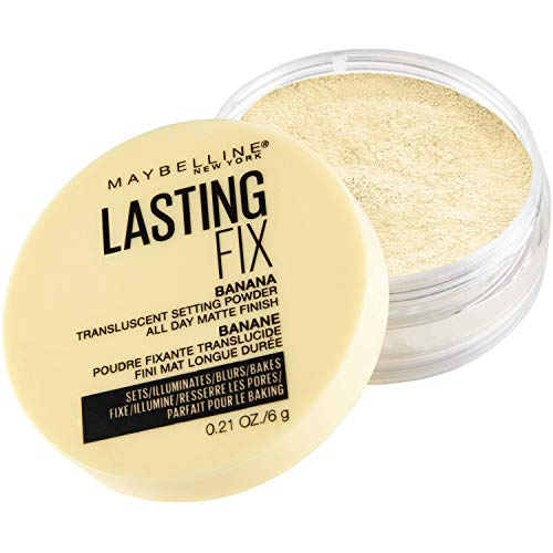 Maybelline Banana Powder, Loose Setting Face Powder Makeup, Fine Setting Powder, Matte Finish, Soft Focused Effect, Suitable for All Skin Tones, Shade 10, 0.21 Ounce