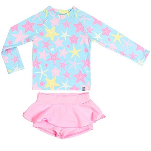FAIRYRAIN Baby Kinder Mädchen 2 Stück Lange Ärmel Badeanzug Boy-Leg Star Rash Guard UV Sonnenschutz Badeanzüge Schwimmanzug