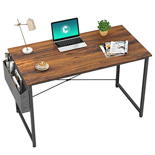 Cubiker Computer Desk 32 inch Home Office Writing Study Desk Modern Simple Style Laptop Table with Storage Bag Deep Brown