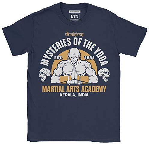 6TN Hombre Misterios de Dhalsims de la Academia de Artes Marciales de Yoga T Shirt (M, Azul Marino)