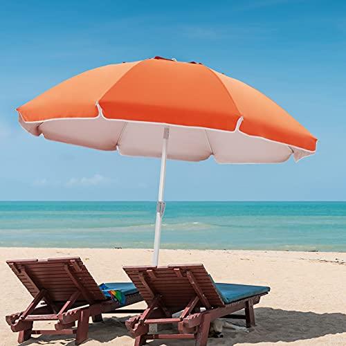 BLUU Beach Umbrella 7.5ft UPF50+ Umbrella Windproof Aluminum Pole Umbrellas, Protable Sunscreen Ventilation Umbrella with Tilt,Carry Bag & Sand Anchor for Outdoor Beach Trip(Orange)