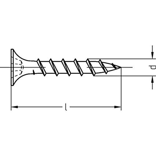 Gipsplattenschrauben mit Grobgewinde Trompetenkopf-H CE-konform phosphatiert - 3,9 x 25 - 1000 Stück
