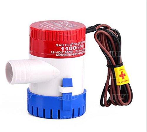 SAILFLO Pompe de cale 350/500/750/1100GPH entièrement submersible, pour bateau, 12V, pompe à eau de cale pour bateau de pêche, yacht, VR ou bateau de marine, 500GPH