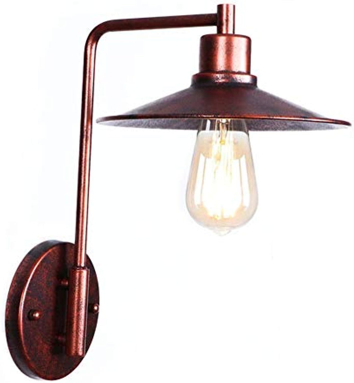 WVUSGDTT Wandleuchte Nachttisch Einfachheit Led Rust Farbe Wandleuchte Dekorative Lampe Innen Metall Beleuchtung Schlafzimmer Schlafzimmer Gang Wohnzimmer Passage E27