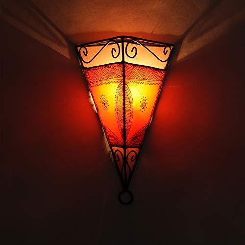 Casa Moro Orientalische Wandlampe marokkanische Wandleuchte Emrah Orange | Henna-Lampe 34x23x17 cm (HxBxT) | Lampen-Gestell aus Eisen & Lampenschirm aus Leder | Kunsthandwerk aus Marrakesch | L1061