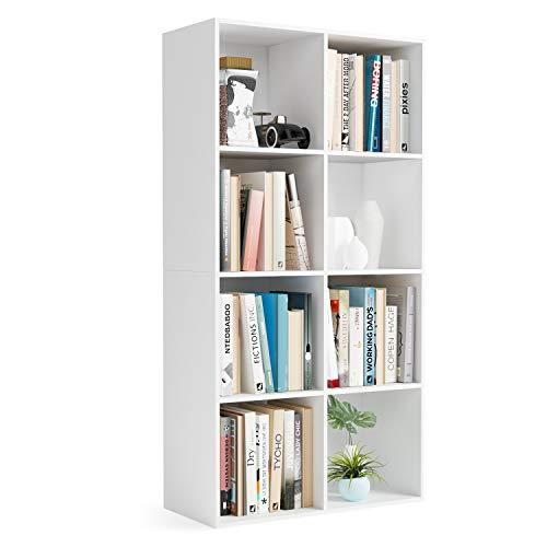 Homfa Scaffale Libreria Mobile Soggiorno in Legno Mobile per Archiviazion Carico 30 kg (Bianco, 65.5 x 29.5 x 128 cm)