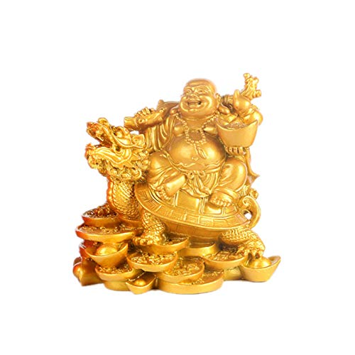 Laughing Buddha, Chinese Feng Shui Laughing Buddha Riding Dragon Turtle Statue Home Office Ornament Decoration Attract Wealth and Good Luck (Gold)