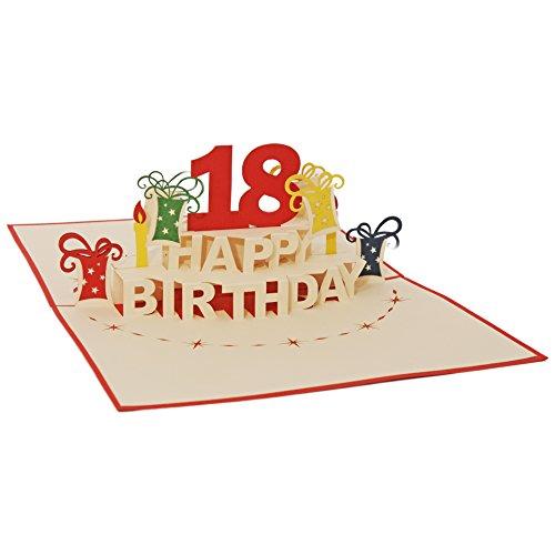 Favour Pop Up Glückwunschkarte zum runden 18. Geburtstag. Ein filigranes Kunstwerk, das sich beim Öffnen als Geburtstagstorte entfaltet. ALTA18R