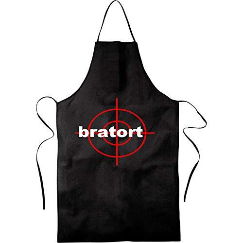 Blickfang Bratort |Grill, BBQ | Küchenchef, Koch | Kochschürze, Latzschürze, Küchenschürze Grillschürze, Partyschürze | Geschnek, Geburtstag, Schurz | Schwarz, Rot (Rot) (Schwarz)