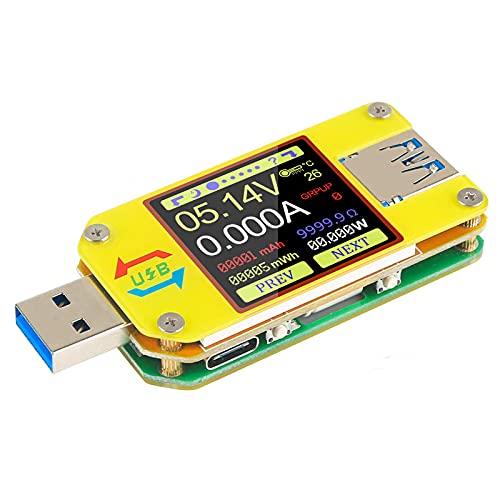UM34C USB Meter Tester Voltaje, actual Multímetro Amperímetro Bluetooth Pantalla LCD a color de 1.44 pulgadas Medidor de impedancia de la carga de la resistencia de cable del tipo C del USB 3.0