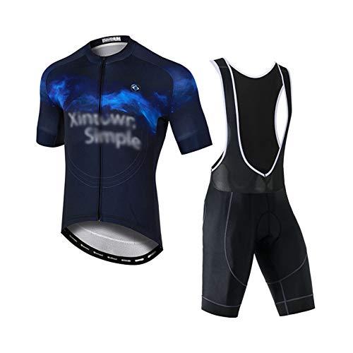 Verano Hombres Jersey + Pantalones Cortos con 3D Acolchado De Gel, Mangas...