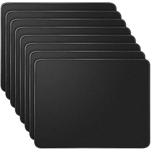 LONGKEY Mouse Pad Standard Size 10.2x8.3x0.08 Inch Computer Mouse Pad with Neoprene Backing and Jersey Surface Black, 8 Pack