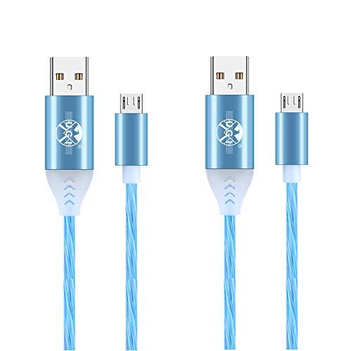 Cable Micro USB 2 Piezas cables de luz LED con luz visible Cable micro USB de 1M 2M 3A Carga rápida y transferencia de datos Compatible con Samsung Note 5/S7 Edge/S6/S5, LG G4 G3 G2 y más (Azul)