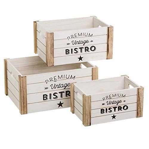 Cajas juguetero de Madera Natural Blancas Vintage para decoración Vitta - LOLAhome