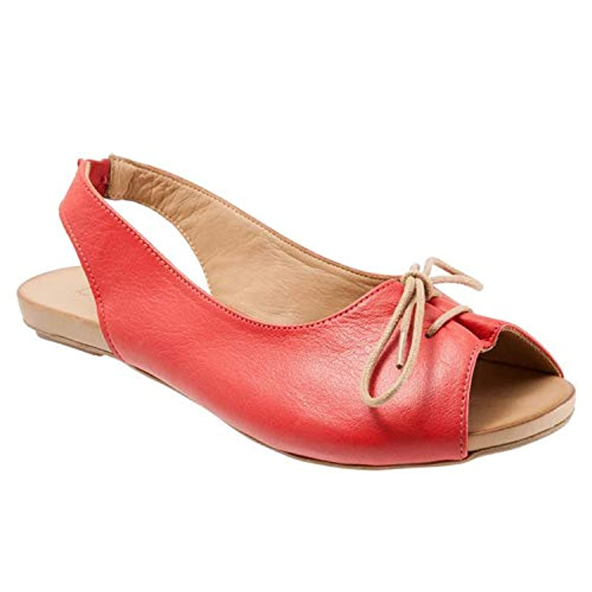 Women Peep Toe Flat Sandal - Ladies Casual Fish Mouth Slingback Sandals - Summer Party Wedding Sandal (9, Red)