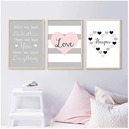 Póster infantil con cita familiar de corazón rosa, lienzo, arte de pared, pintura impresa, cuadro nórdico para decoración de habitación de chico y bebé