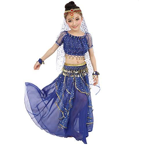 Magogo Mädchen Bauchtanz Kostüm Geburtstagsparty Kostüm, Kinder Cosplay Arabische Prinzessin Dancewear Glänzende Karneval Outfit (L, Dunkelblau)
