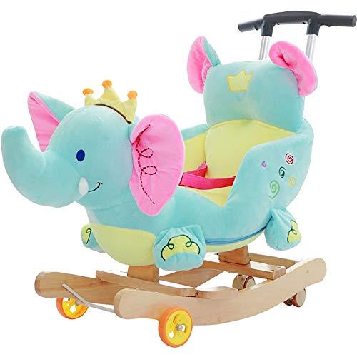 Kibten Plush Crown Elephant Rocker Baby Rocking Horse Kids Infant Rocking Animal Toddler Ride on Toy, Soft Padded Seat with Backrest & Seat Belt & Pulley, Christmas Birthday Gift