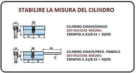 Misura a.30//b.30 chiave//pred. pomolo 5 ch. CILINDRO EUROPEO SICUREZZA MOTTURA C28 PLUS FRIZIONATO 5 CHIAVI VARIE MISURE!!!