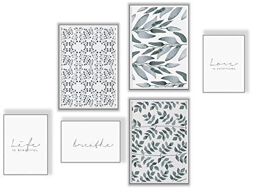 ELAFI® Premium Poster Set 6er   Stilvolle Dekoration mit passendem Bilder Set als Wohnzimmer Deko   Set 3X DIN A3 & 3X DIN A4 ohne Bilderrahmen   Kunstdruck Blätter (Leaf Art)