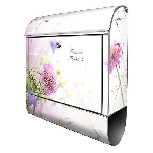 Banjado Design Briefkasten personalisiert mit Motiv Glitzernde Wiese | Stahl pulverbeschichtet mit Zeitungsrolle | Größe 39x47x14cm, 2 Schlüssel, A4 Einwurf, inkl. Montagematerial