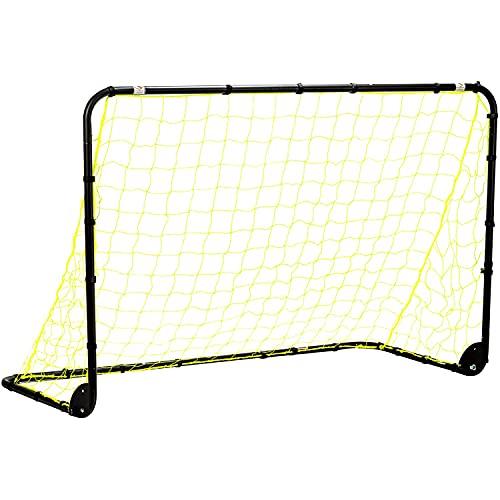 Franklin Sports Premier Steel Soccer Goal - Folding Backyard Soccer Goal with All Weather Net - Kids Backyard Soccer Net - Easy Assembly - 12'x6' Soccer Goal - Black