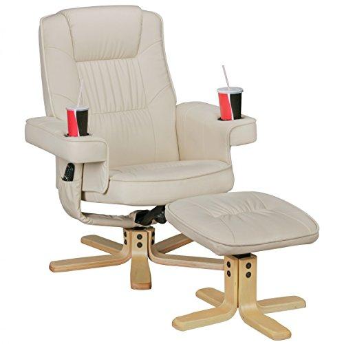 FineBuy Relax Duo Fernsehsessel mit Getränkehalter | TV Sessel drehbar mit Hocker | Relaxsessel Beige aus Kunstleder mit Armlehnen | Stuhl mit Fernbedienungshalter | Sessel mit Handyhalter