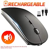 Rechargeable Wireless Mouse, 2.4Ghz Silent Computer Office Portable Mobile Slim Optical Cordless Mouse with USB Receiver, 3-Level Adjustable DPI for Notebook, PC, Laptop, Computer, MacBook (Black)