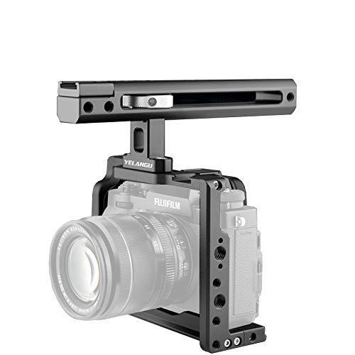 Adecuado para la jaula de la cámara Fuji XT2 / XT3, jaula de aleación de aluminio con zapato frío, cubierta protectora de protector de extensión porosa de 1/4 pulgada de 3/8 pulgadas, con asa,