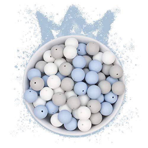 RUBY - 60 Cuentas de silicona, piezas de silicona alimentaria para montar chupeteros/collares/mordedor lactancia colores combinados (Reino de las Nubes, Bolas Ø15mm)