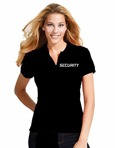 Coole-Fun-T-Shirts Security Damen Poloshirt + Cap ! Druck vo+hi ! schwarz Gr.M